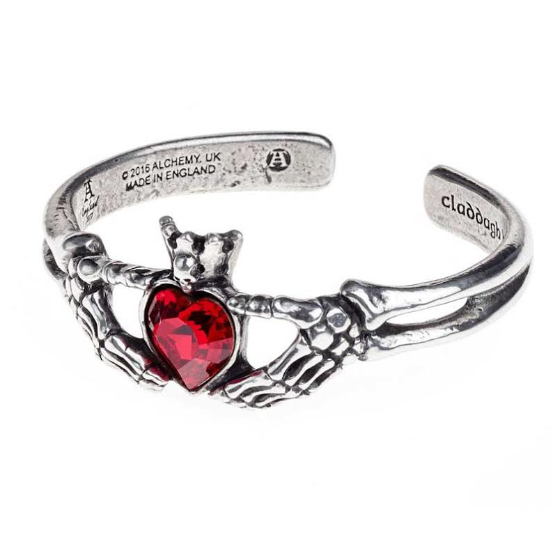 Claddagh By Night Pewter Bangle Bracelet -by Alchemy England 1977