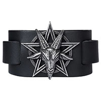 Baphomet Pewter & Leather Unisex Bracelet -by Alchemy England 1977