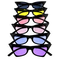 Women's High Point Black Cat Eye Retro Sunglasses (Black With Various Colored Lenses)