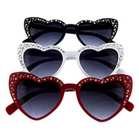 Women's Lolita Affection Rhinestone Cat Eye Heart Shaped Sunglasses (Various Colors)