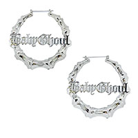 Baby Ghoul Plug Friendly Oversized Bamboo Hoop Earrings by Too Fast