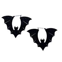 Glitter Bats Plug Friendly Black Oversized Hoop Earrings by Too Fast