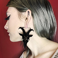 Black Goat / Baphomet Plug Friendly Stainless Steel Oversized Hoop Earrings by Too Fast