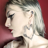 Skeleton Heart Hands Plug Friendly Stainless Steel Oversized Hoop Earrings by Too Fast