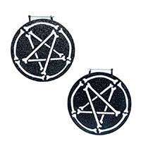 Pent-A-Bones Plug Friendly Black Oversized Hoop Earrings by Too Fast