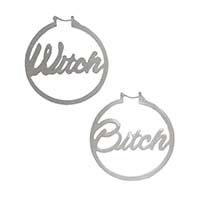 Witch Bitch Silver Stainless Steel Oversized Hoop Earrings by Too Fast