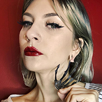 Skeleton Hands Plug Friendly Stainless Steel Oversized Hoop Earrings by Too Fast