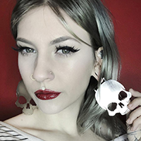 Silver Skull Plug Friendly Stainless Steel Oversized Hoop Earrings by Too Fast