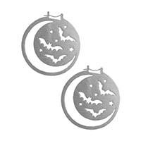 Moon Bat Silver Stainless Steel Oversized Hoop Earrings by Too Fast