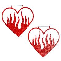 Heart Fire Plug Friendly Black Oversized Hoop Earrings by Too Fast