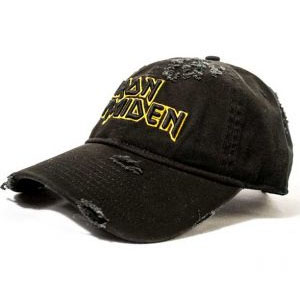 Iron Maiden- Yellow Logo embroidered on a distressed black baseball hat