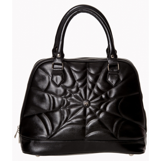 Malice Spider Web Large Bowler Bag by Banned Apparel