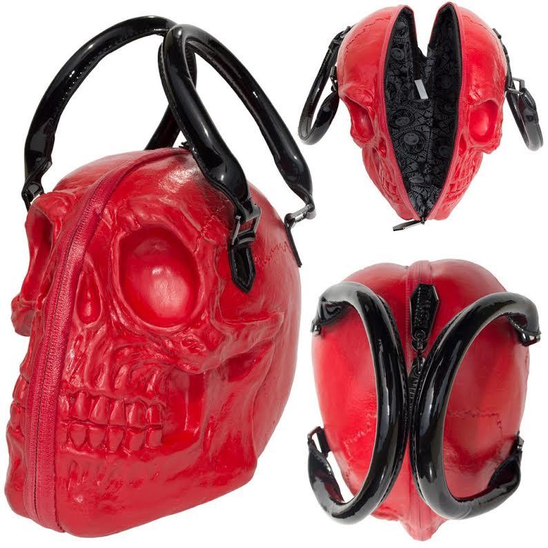 Skull Collection 3D Handbag Bag by Kreepsville 666 - Red