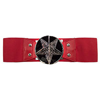 Wide Elastic Retro Belt by Kreepsville  666 -  Goat Head on Red