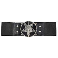 Wide Elastic Retro Belt by Kreepsville  666 -  Goat Head on Black