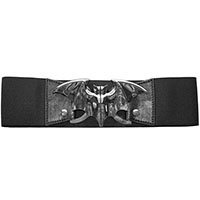 Wide Elastic Retro Belt by Kreepsville  666 -  Silver Bat on a Black Belt