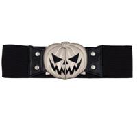 Wide Elastic Retro Belt by Kreepsville  666 -  Black Pumpkin