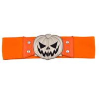 Wide Elastic Retro Belt by Kreepsville  666 -  Orange Pumpkin