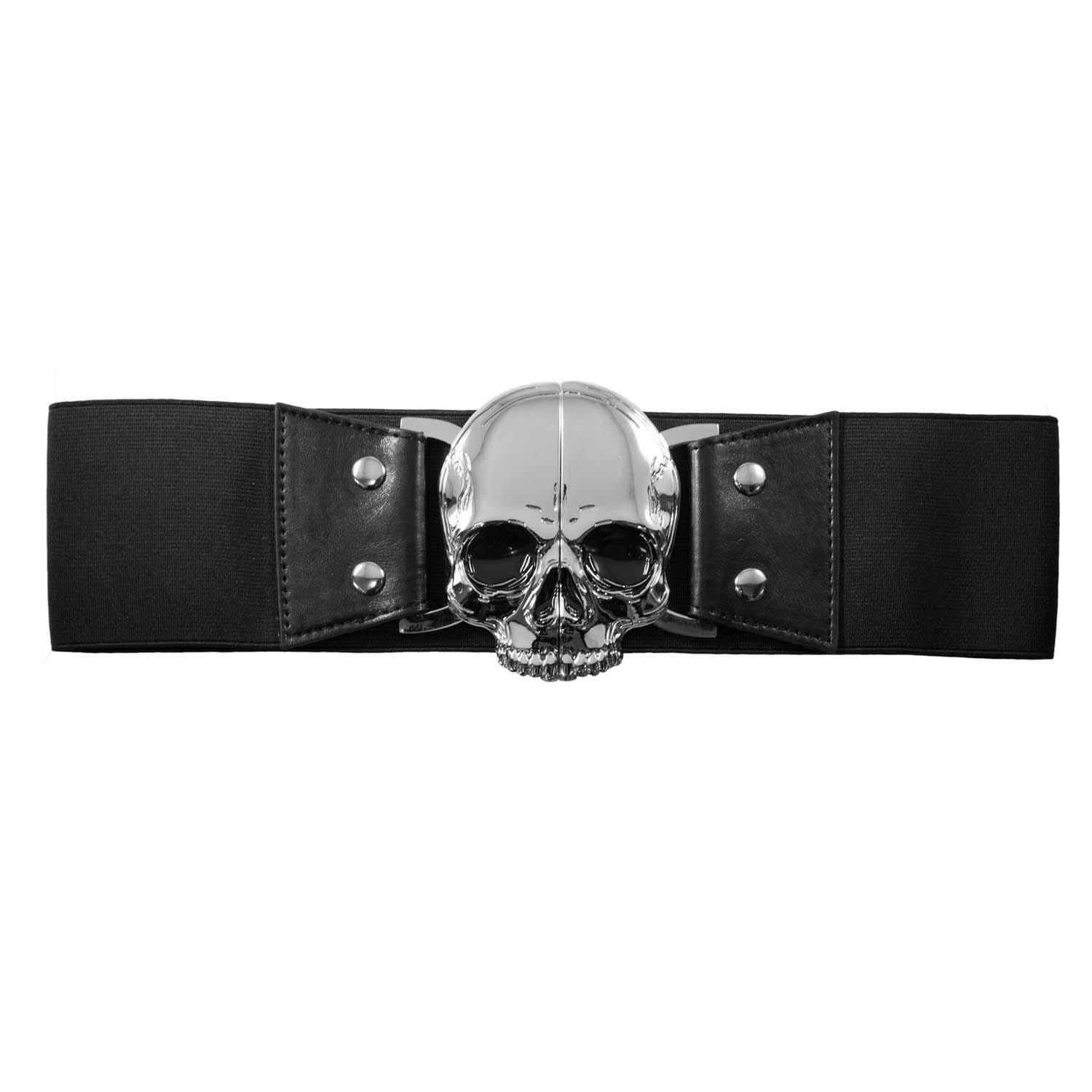 Wide Elastic Retro Belt by Kreepsville  666 -  Black Skull