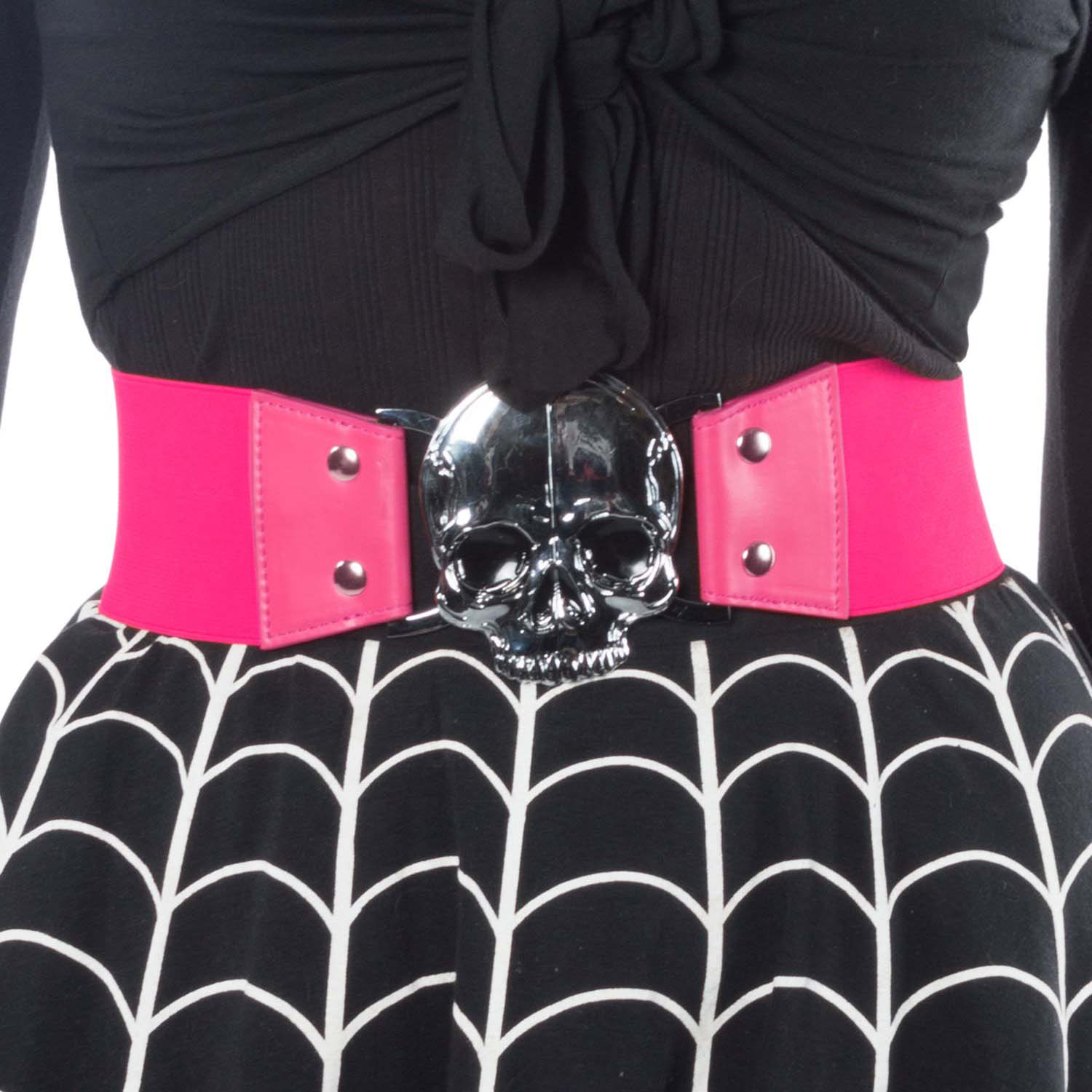 Wide Elastic Retro Belt by Kreepsville  666 -  Pink Skull