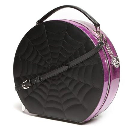 Black Widow Hatbox by Lux De Ville - Electric Purple Sparkle & Black Matte - SALE