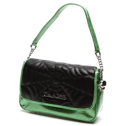 Black Widow Small Tote Bag by Lux De Ville - Green Envy