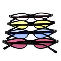 Womens Vintage Slim Meow Black Cat Eye Sunglasses (Various Colored Lenses)