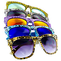 Cheetah Print Classic Sunglasses with Mirrored Lens (Various Colors)