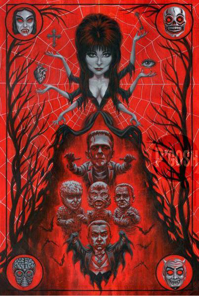 Elvira High Priestess of Horror Fine Art Print by P'Gosh & Retro A Go Go