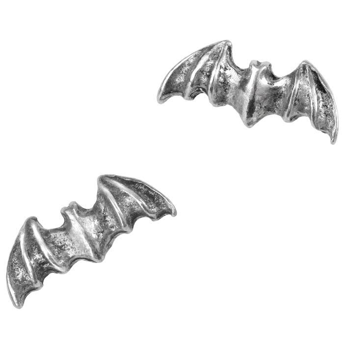 Bat Pewter Stud Earrings -by Alchemy England 1977