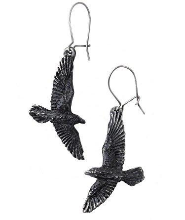 Black Raven Dangle Earrings -by Alchemy England 1977