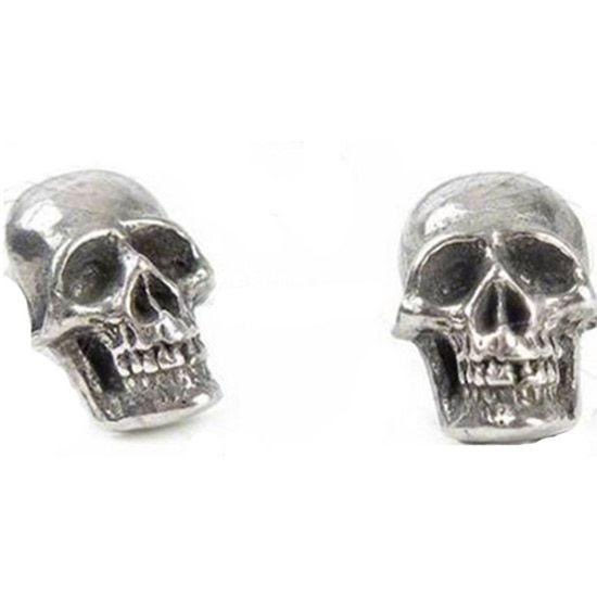 Mortaurium Skull Pewter Stud Earrings -by Alchemy England 1977
