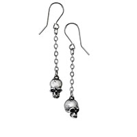 Deadskull Pewter Dangle Earrings -by Alchemy England 1977