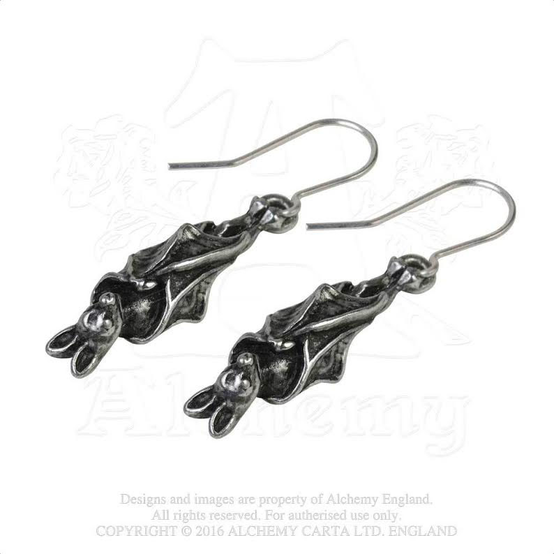 6926745c0 Awaiting the Eventide Sleeping Pewter Bat Dangle Earrings -by Alchemy  England 1977. »