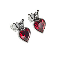 Claddagh Heart Skull Pewter Stud Earrings -by Alchemy England 1977