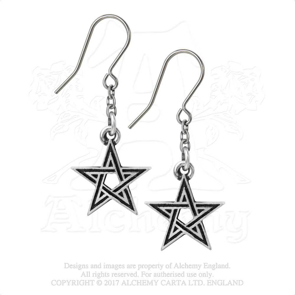 Black Star Pewter Pentagram Dangle Earrings by Alchemy England 1977