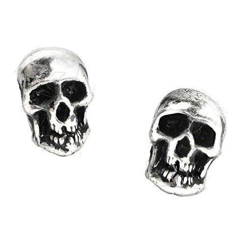Death Mini Pewter Skull Stud Earrings -by Alchemy England 1977