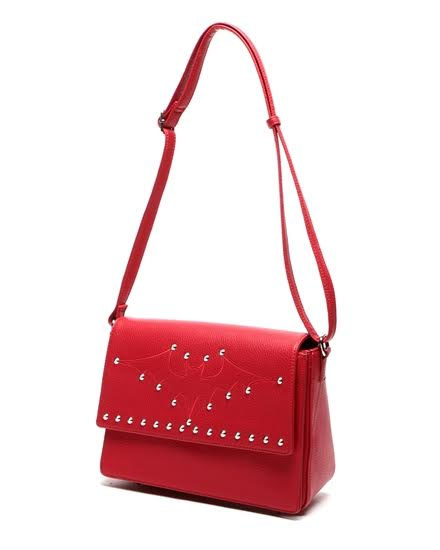 Elvira Matte Studded Bat Bag by Lux De Ville - in Red