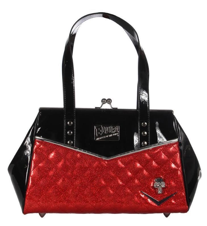 Elvira Femme Fatale Kiss Lock by Lux De Ville - Black Matte & Red Sparkle