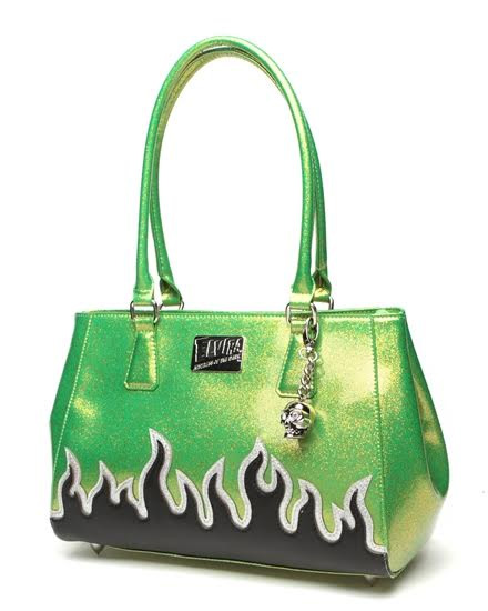 Elvira Flame Tote by Lux De Ville - Black Matte & Lime Green Sparkle