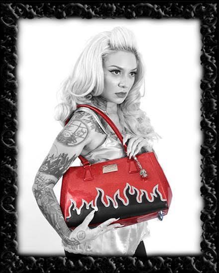 Elvira Flame Tote by Lux De Ville - Black Matte & Red Sparkle