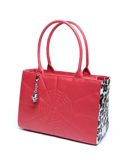Elvira Lucky Me Tote Bag by Lux De Ville - Red Matte w Fuzzy White Leopard
