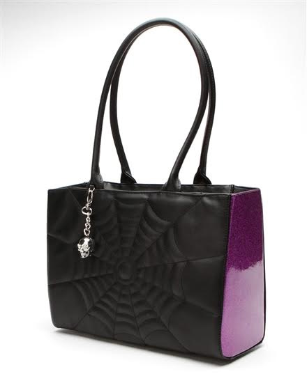 Elvira Lucky Me Tote Bag by Lux De Ville - Electric Purple Sparkle & Black Matte