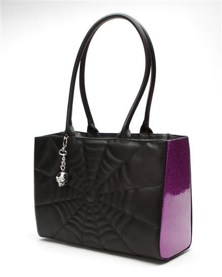 Elvira Lucky Me Tote Bag by Lux De Ville - Electric Purple Sparkle & Black Matte