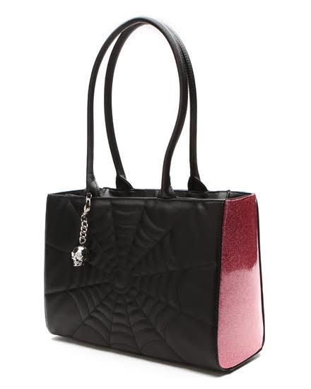 Elvira Lucky Me Tote Bag by Lux De Ville - Pink Bubbly Sparkle & Black Matte