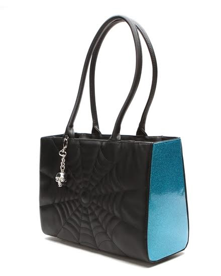 Elvira Lucky Me Tote Bag by Lux De Ville - Blue Villian Sparkle & Black Matte