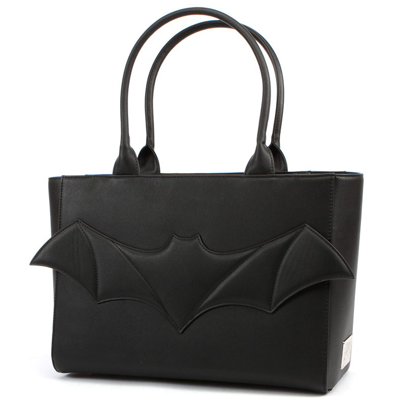 Elvira Halloween After Midnight Bat Tote Blg by Lux De Ville - black matte