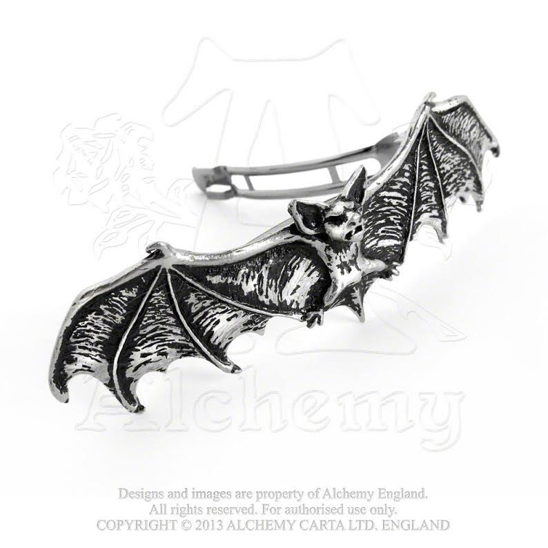 Darkling Pewter Bat Hair Slide by Alchemy England 1977