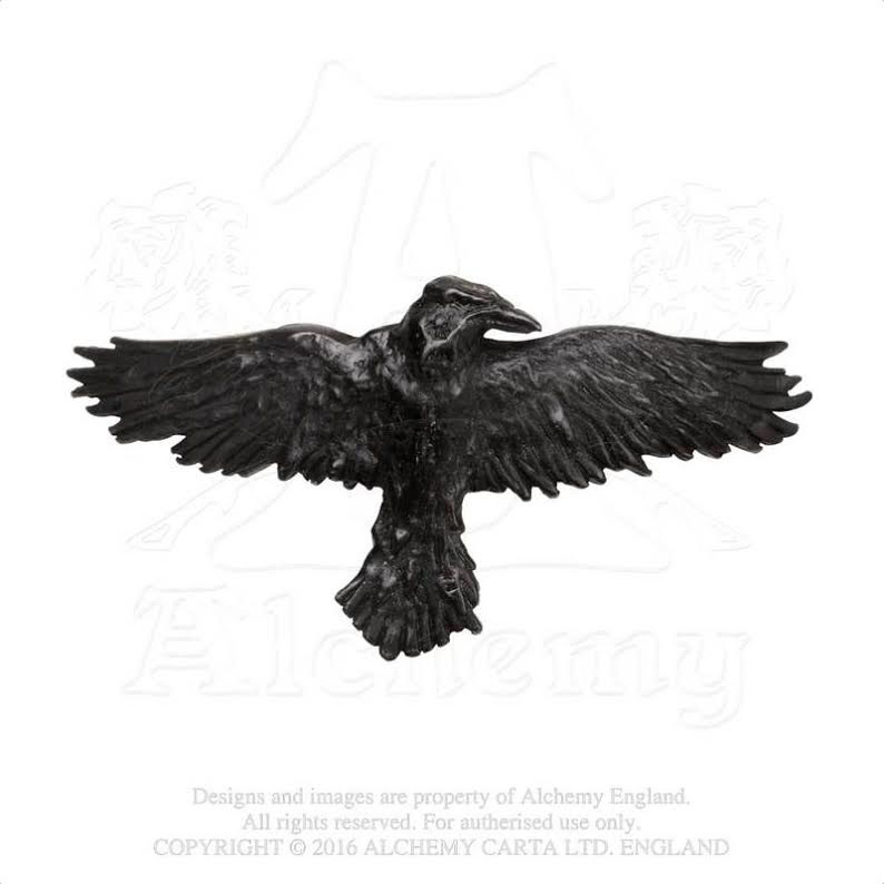 Pewter Black Raven Hair Slide by Alchemy England 1977