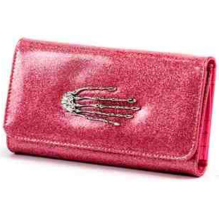 Skeleton Hand Wallet / Clutch by Lux De Ville - Pink Bubbly - SALE